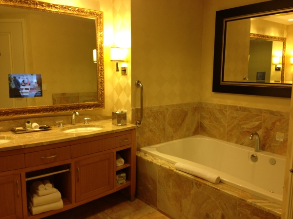 Bathroom with TV built into the mirror