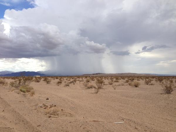 Rain storm over the desert