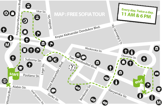Sofia FREE walking tour route