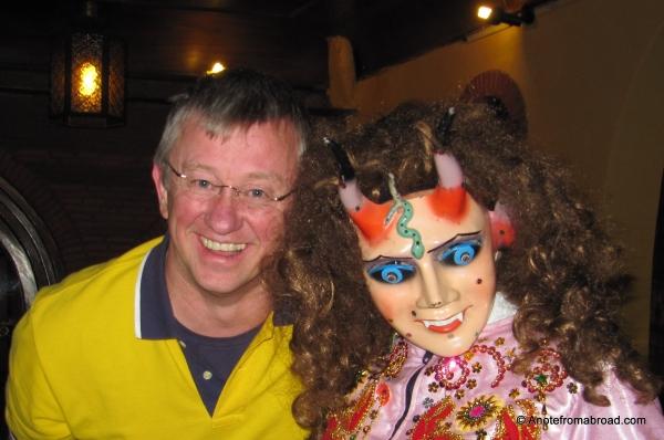 Tim with dancer, Don Antonio Restaurant