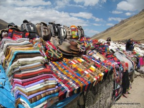 Woven goods for sale on top of the world