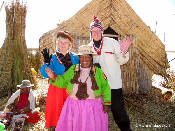 Tim and I dressed in local Uros fashion