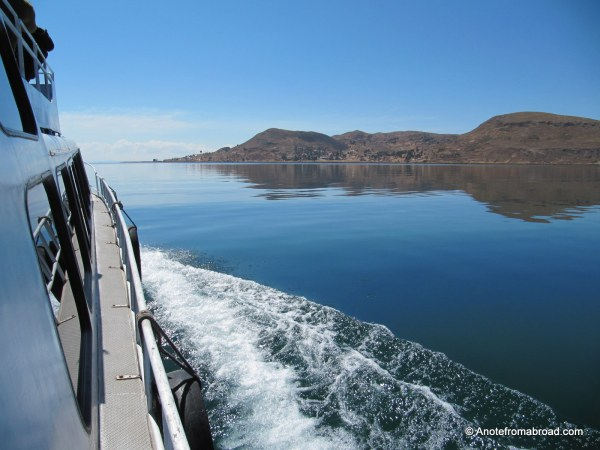 On the boat toward Taquile Island