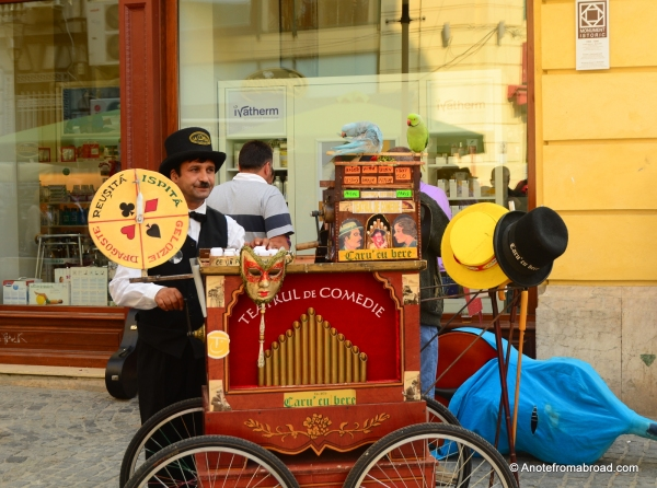 Street entertainer in historic section of town