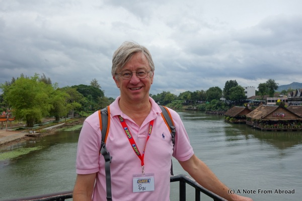 Tim standing on the bridge over the River Kwai