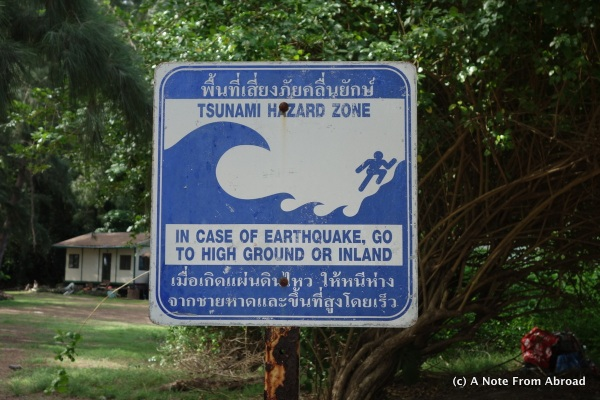 Tsunami Warning sign - sad reminder of when this area was wiped out