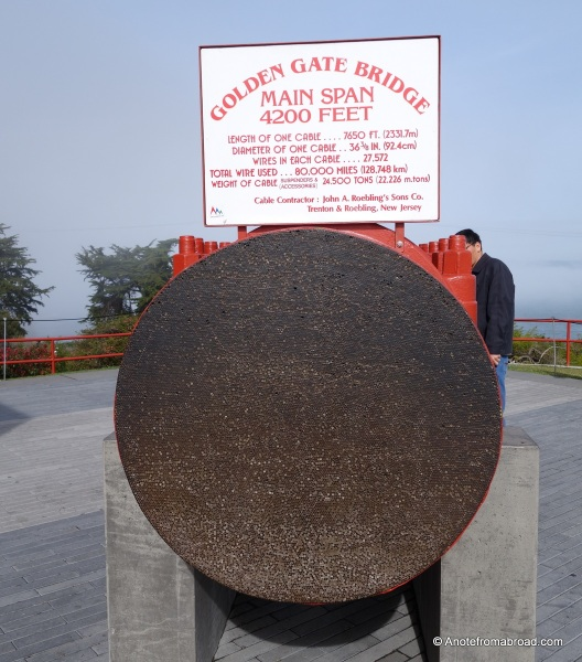 Cross section of cable that holds up the Golden Gate Bridge