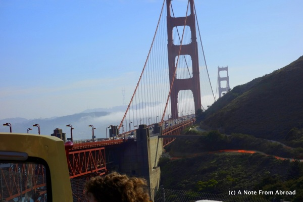 Golden Gate Bridge with the fog rolling in
