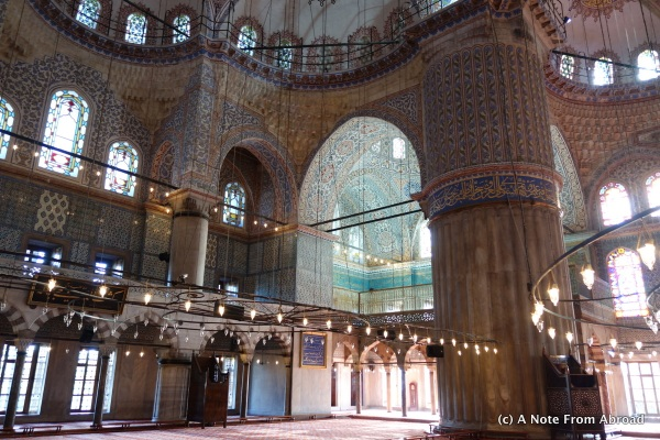Blue Mosque interior - the name turquoise originated in Turkey