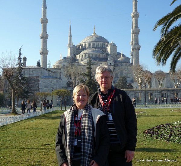 Tim and Joanne in front of the Blue Mosque