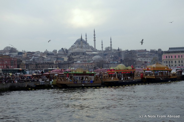View of Blue Mosque from Galata Bridge