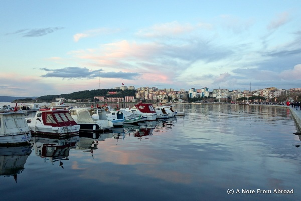 Harbor in Cammukale just before sunset