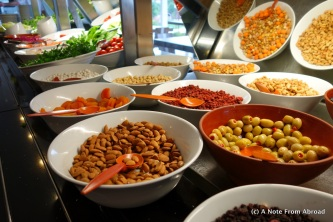 Nuts, cheese, dried fruits, olives and bread are staples at each meal