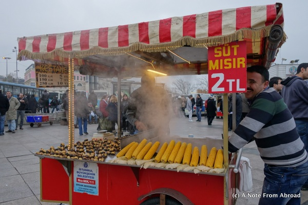 Vendor near the spice market selling roasted corn