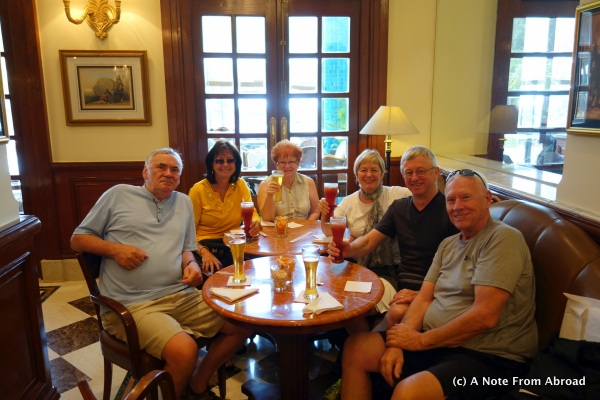 Our group of six having a drink at the Imperial Hotel