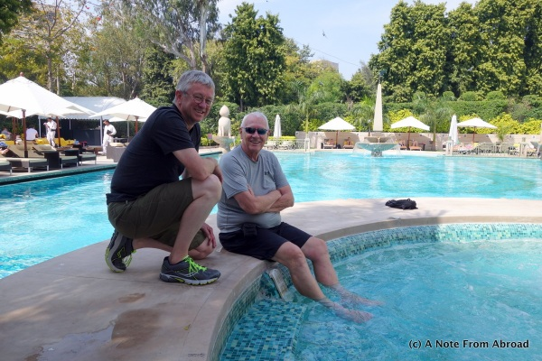 Tim with Dick cooling his feet at the Imperial Hotel