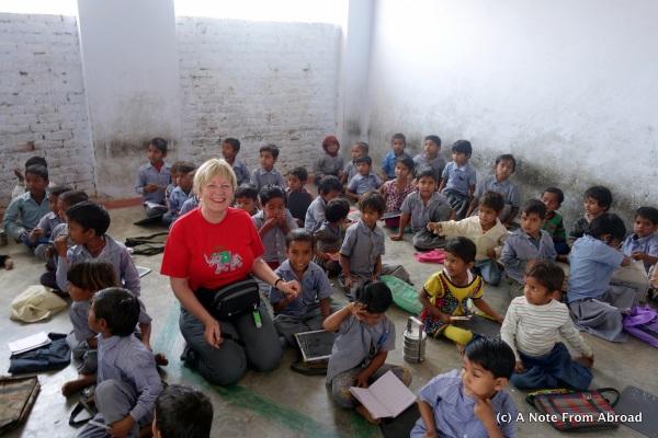 Pre-school classroom.  Everyone sat in rows on the floor