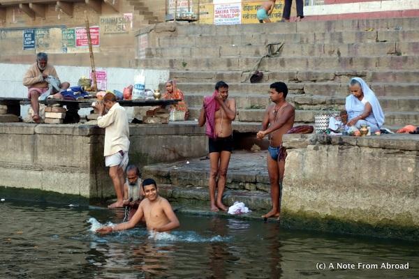 Men bathing in the river