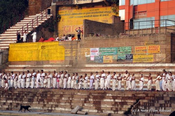 Devout Hindus praying to the morning sun