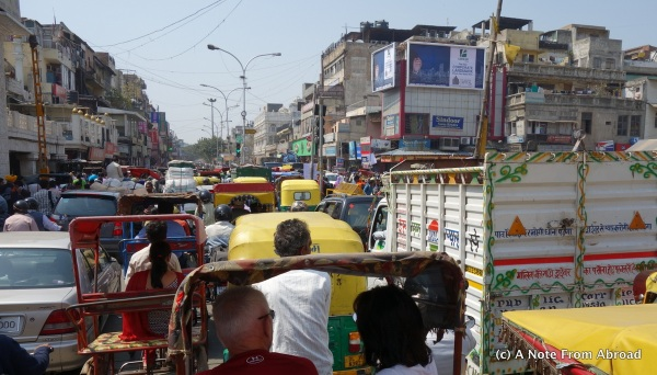 View from our cycle rickshaw - traffic jam