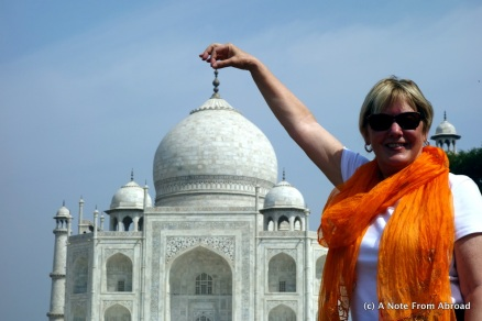Holding the Taj up by the top