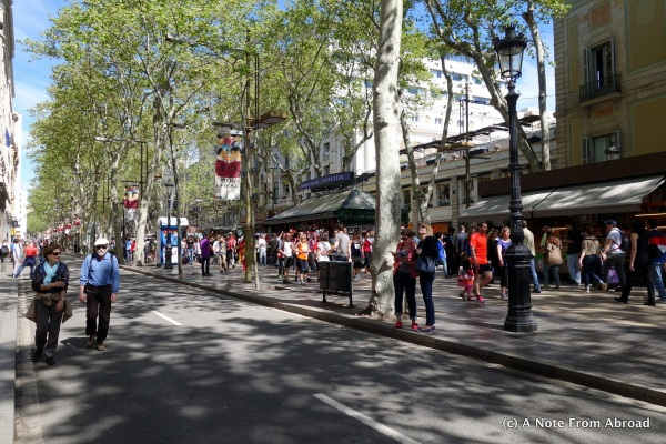 La Ramblas on a Sunday morning