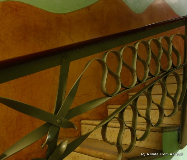 Even the stairways have intricate curved metal decor