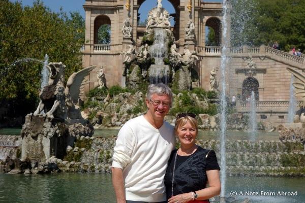 Tim and Joanne in front of fountain at Parc de la Ciutadella