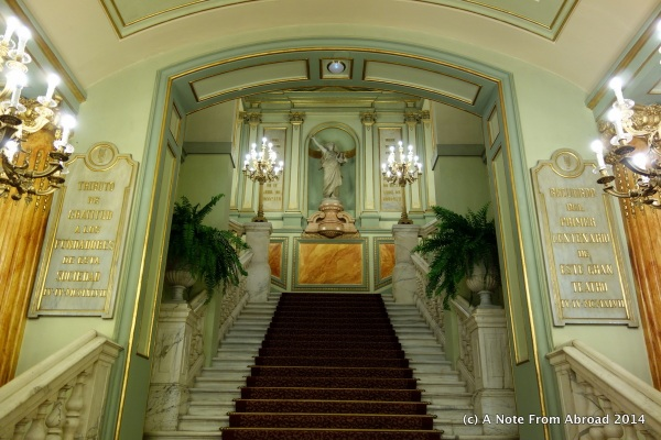 Grand staircase from the entry lobby