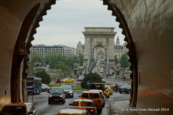 Coming through the tunnel and looking at the Chain Bridge