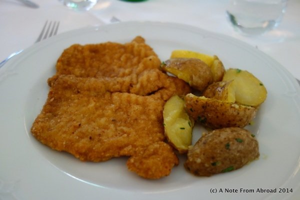 Weiner Schnitzel (breed and pan fried pork) with parsley potatoes