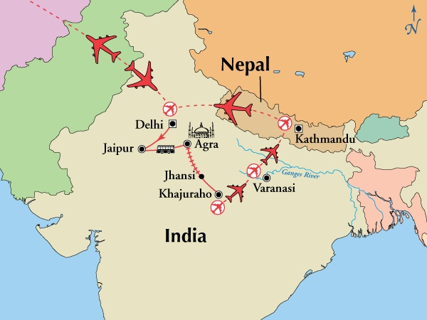 Map showing the route of our Gate 1 trip