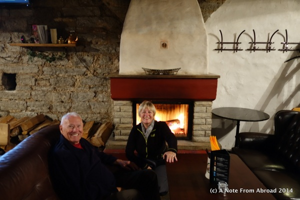 Me with and our friend Dick drying out in front of a roaring fire before a great schnitzel lunch