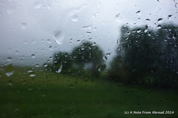 This was my view out of the bus window this morning - boo rain!