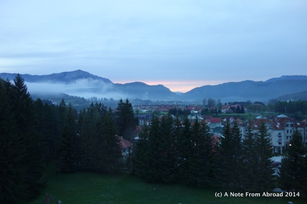 View from our hotel room, waking up in Kolasin, Montenegro