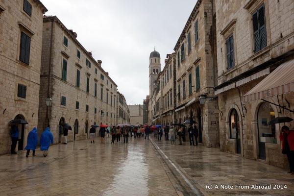 Rain soaked main street