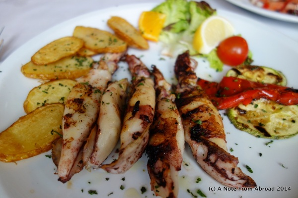 Grilled squid and seafood salad