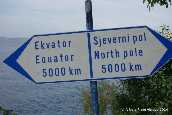 Half way between the North Pole and the Equator