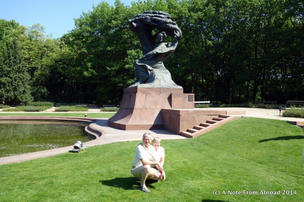 In front of the Chopin Memorial Statue