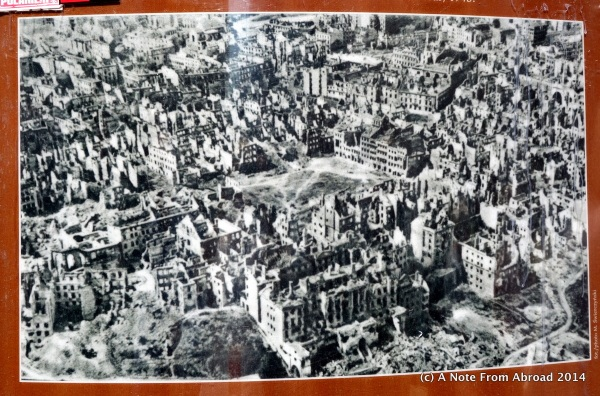 The city of Warsaw, almost totally destroyed during World War II