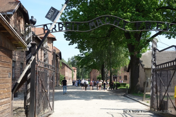 Entry gate at Auschwitz I with sign overhead
