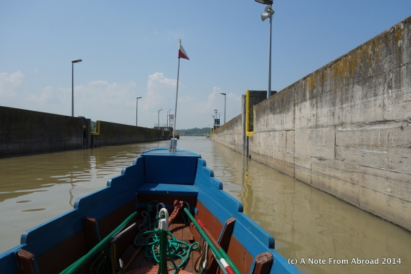 Our boat was so tiny all alone inside the lock