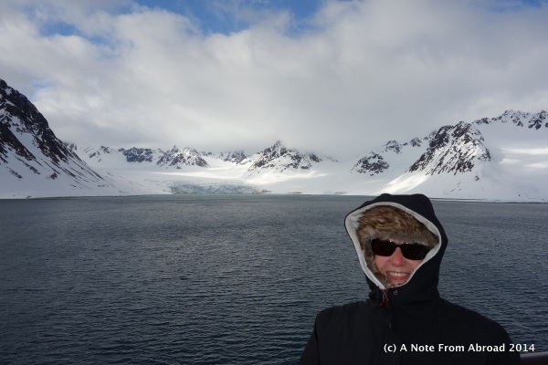 Blue ice of the glacier behind me