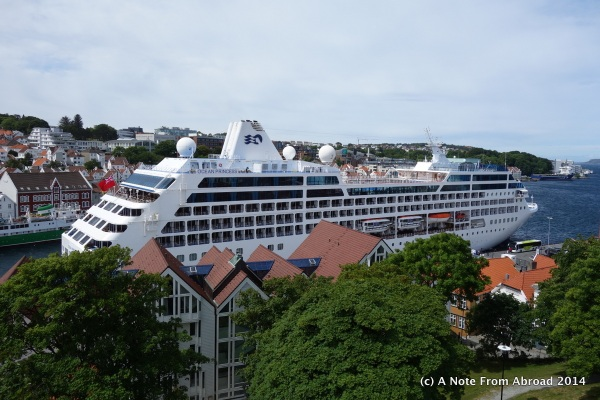 Ocean Princess docked right in town
