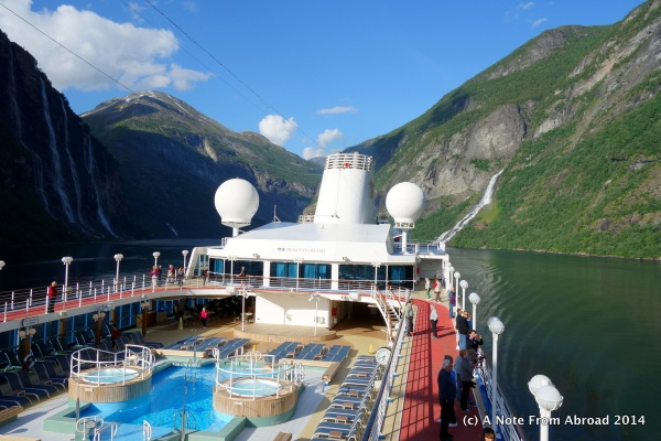The Ocean Princess weaving her way along the Fjord