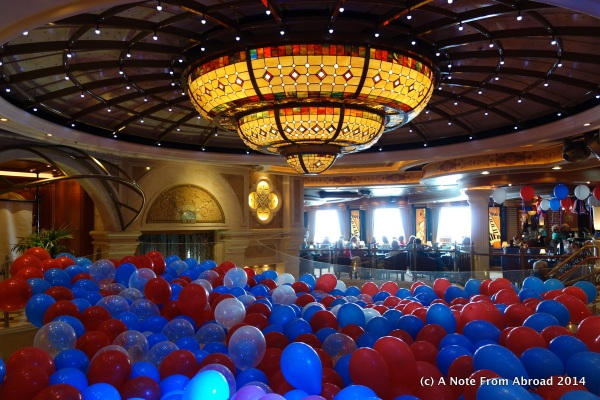 Ruby Princess Atrium decorated for the Fourth of July