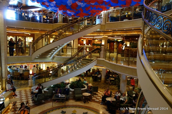 The central atrium is the hub of the ship where you find reception, tour desk, shopping arcade, bakery and snack counter, ice cream parlor and more