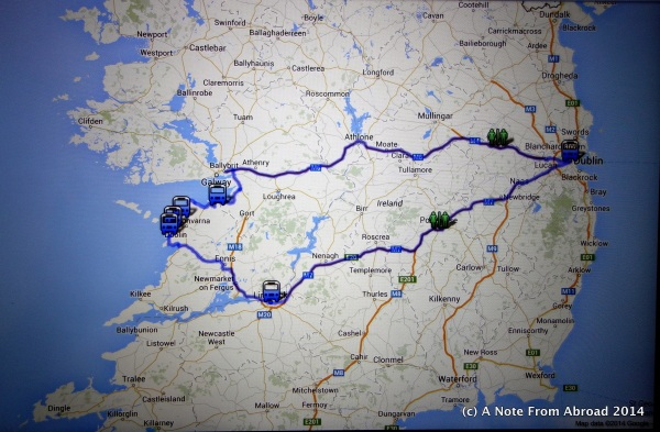 Map of our bus trip today
