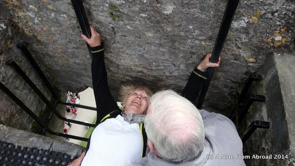 Joanne kissing the Blarney Stone