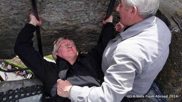 Tim kissing the Blarney Stone